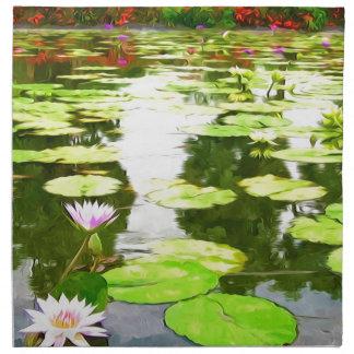 Blossom Lotus Flower In Pond Printed Napkins
