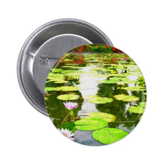 Blossom Lotus Flower In Pond Pinback Buttons