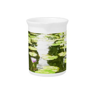 Blossom Lotus Flower In Pond Drink Pitchers