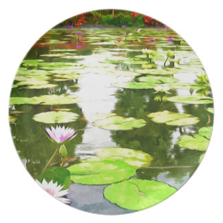 Blossom Lotus Flower In Pond Plates