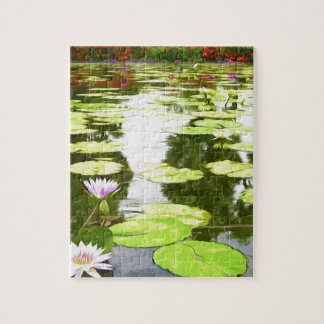 Blossom Lotus Flower In Pond Jigsaw Puzzles