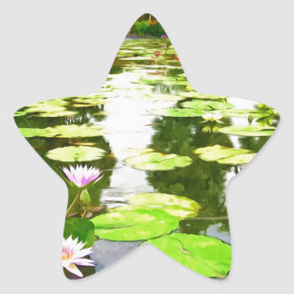 Blossom Lotus Flower In Pond Star Stickers