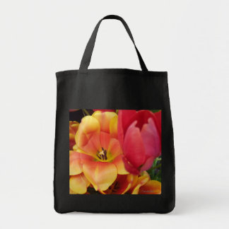 Blossom Orange Red Tulips Grocery Tote Bag