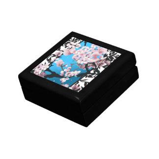 Blossom spring sakura. Elegant flower silhouette. Gift Box