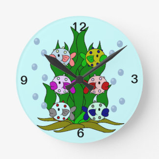 Blow-fish Family in the Seawee Round Wallclock