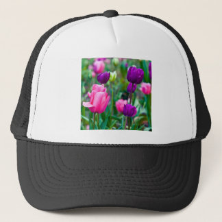 Blows multicolored tulips trucker hat