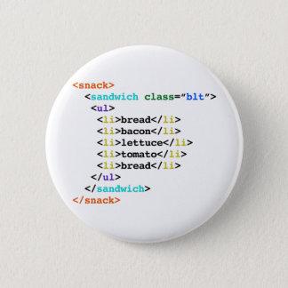 BLT HTML Funny Geek Sandwich 6 Cm Round Badge