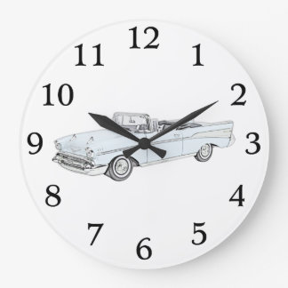 Blue 1957 Chevy Bel Air convertible Pencil Drawing Large Clock