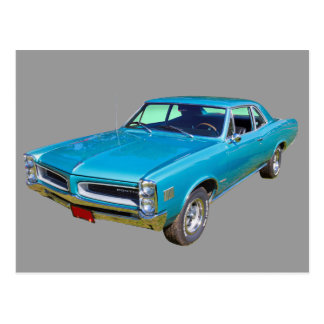 Blue 1966 Pontiac Le Mans Muscle Car Postcard