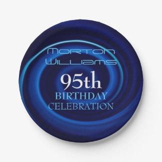 Blue 95th Birthday Celebration Paper Plates