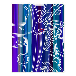 Blue Abstract Design Postcard