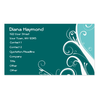 Blue Abstract Floral Business Card Templates