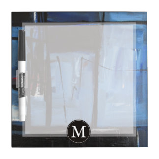 Blue Abstract Monogram Dry-Erase Board