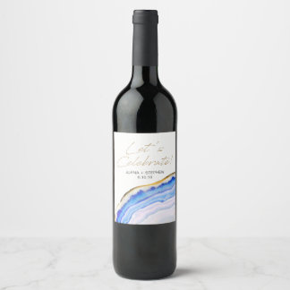 Blue Agate Wine or Champagne Labels