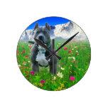 Blue American Pit Bull Terrier, Pikes Peak Round Wallclock