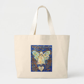 Blue & Gold Cancer Angel - Large Jumbo Tote Bag
