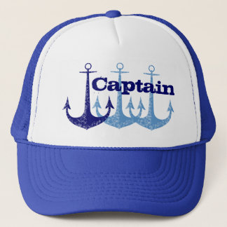 Blue anchor Captain, boy's personalised Trucker Hat
