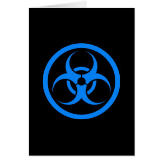 Blue and Black Bio Hazard Circle Greeting Card