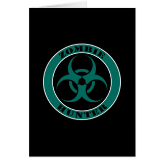 Blue and Black Bio Hazard Zombie Hunter Greeting Card