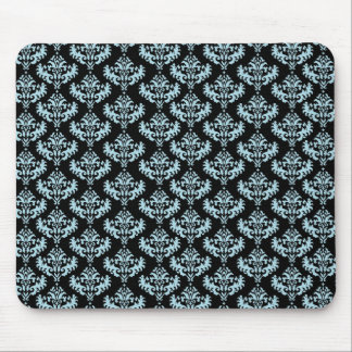Blue and Black Damask Pattern Mouse Pad