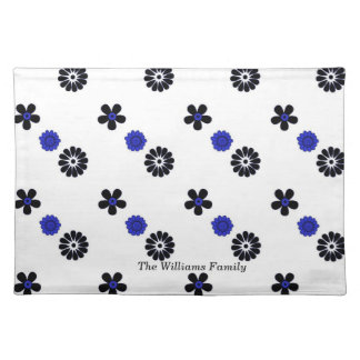 Blue and Black Funky Flowers Place Mat
