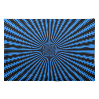Blue and Black Funky Striped Abstract Art Placemat