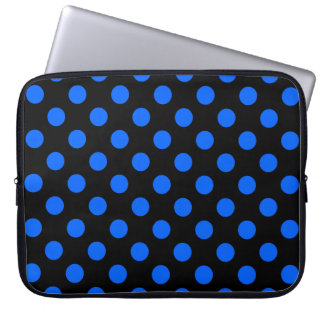 Blue and black polka dots laptop sleeve