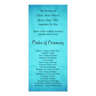Blue and Black Wedding Program Personalized Rack Card