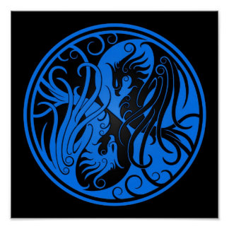 Blue and Black Yin Yang Phoenix Poster