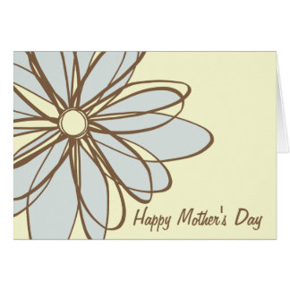 Blue and Brown Flower Mother's Day Card