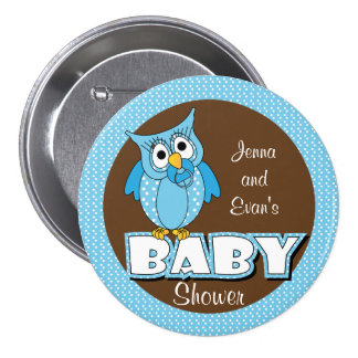 Blue and Brown Polka Dot Owl | Baby Shower Theme 7.5 Cm Round Badge