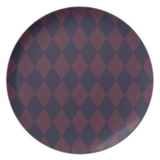 Blue and Burgundy Argyle Plate