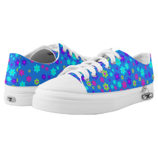 Blue and Colorful Flowers ZipZ Tennis Shoes Printed Shoes