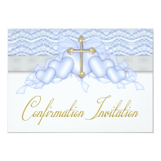 Blue and Gold Cross Boys Confirmation Card