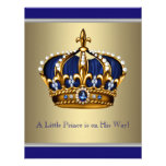 Blue and Gold Crown Little Prince Baby Shower
