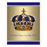 Blue and Gold Crown Little Prince Baby Shower Invites
