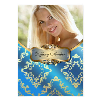 Blue and Gold Damask Photo Invite