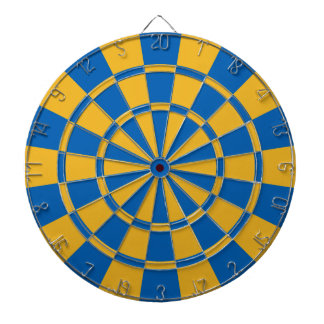 Blue And Gold Dartboard With Darts