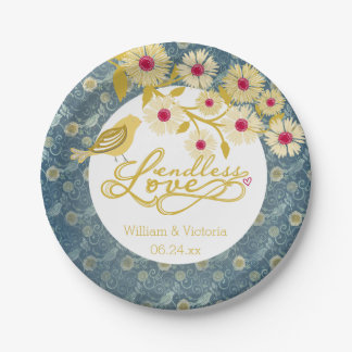 Blue and Gold Endless Love Wedding Paper Plates