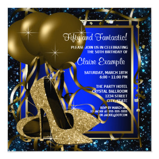 Blue and Gold High Heels Birthday Party 13 Cm X 13 Cm Square Invitation Card
