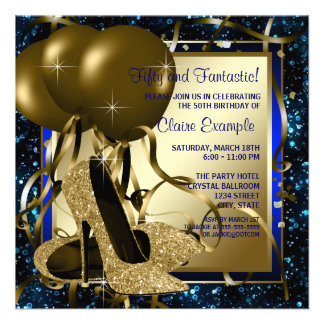 Blue and Gold High Heels Womans Birthday Party Custom Invites