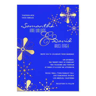Blue and Gold Indian Inspired Wedding Card