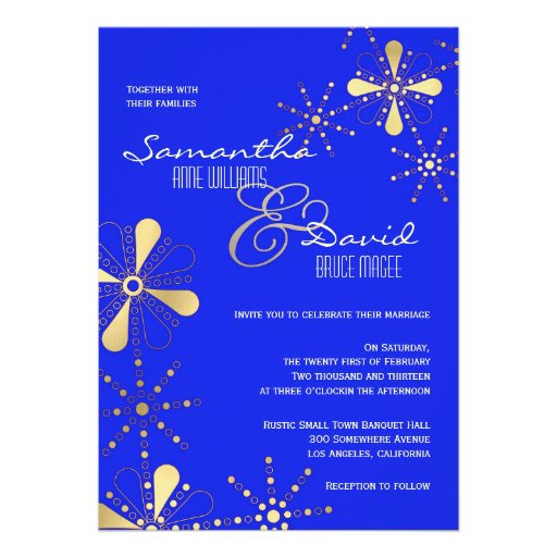 Blue and Gold Indian Inspired Wedding Announcements