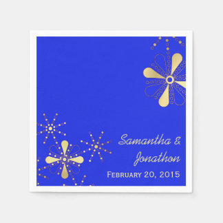 Blue and Gold Indian Inspired Wedding Napkins Paper Napkins