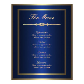 Blue and Gold Menu Card Flyers