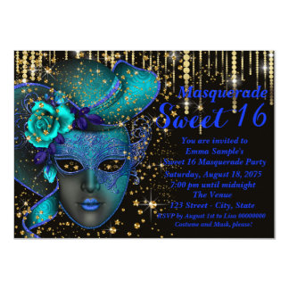 """Blue and Gold Sweet Sixteen Masquerade Party 4.5"""" X 6.25"""" Invitation Card"""
