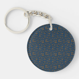 Blue and Gold Swirling Vines Pattern Key Ring