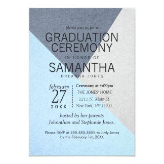 Blue and Gray Geo Triangles Graduation Ceremony Card