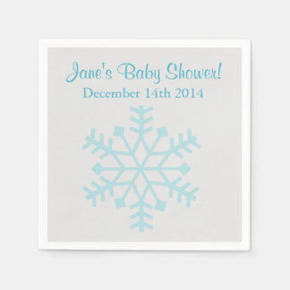 Blue and Gray Snowflake Baby Shower Napkins Disposable Serviette