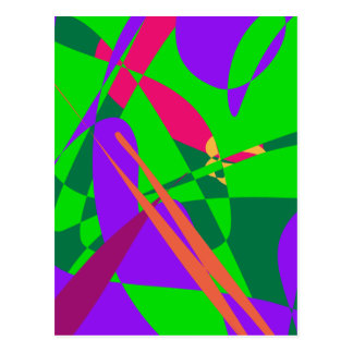 Blue and Green Abstract Composition Post Card